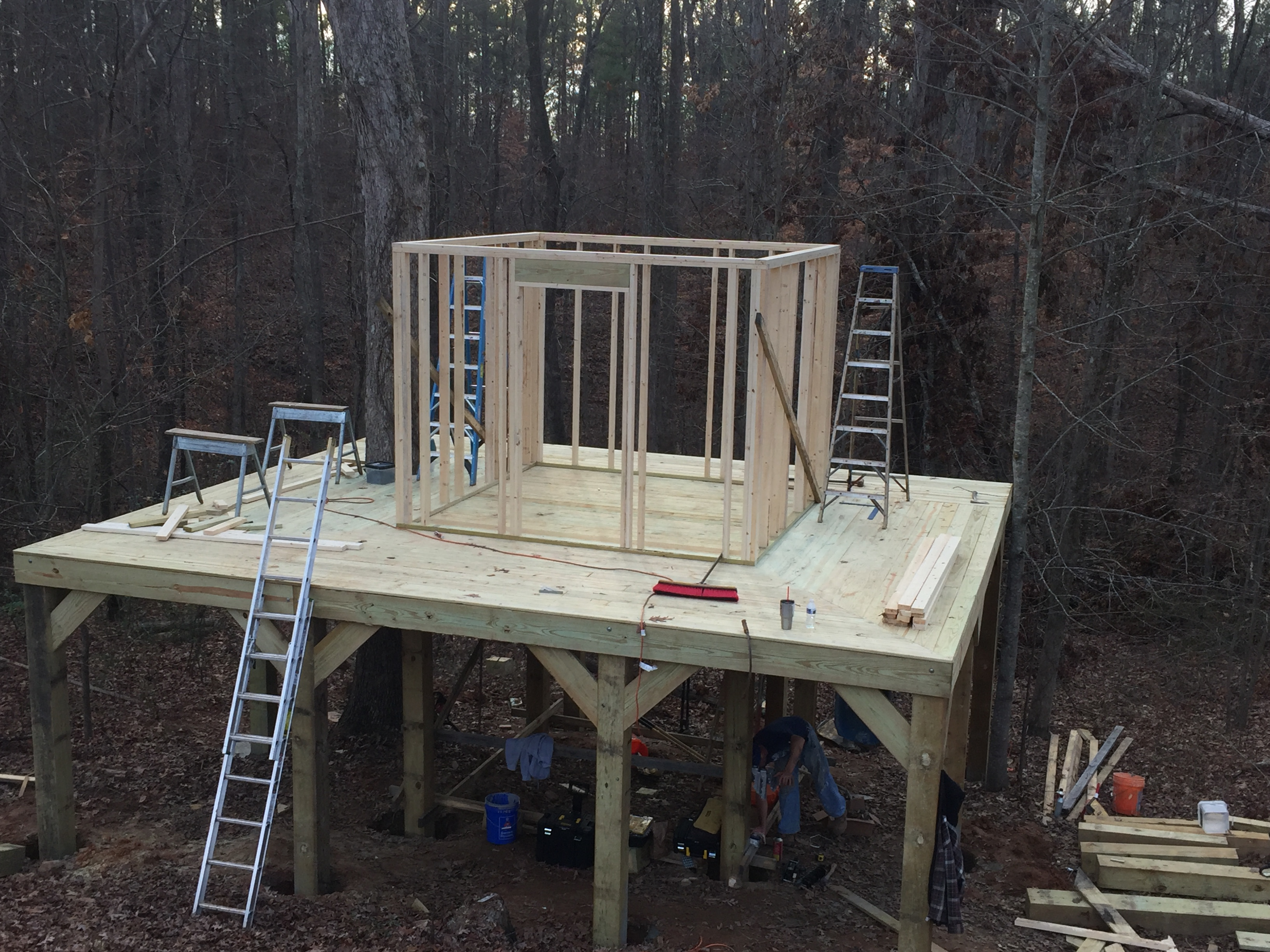 treehouse with wrap-around deck construction